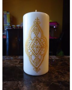 6 in. Painted Candle White and Gold