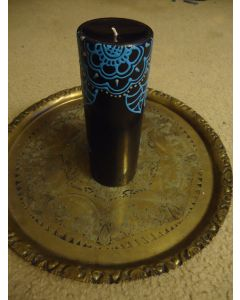 7 in. Painted Candle Black and Blue