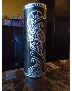 7 in. Painted Candle Black and Silver